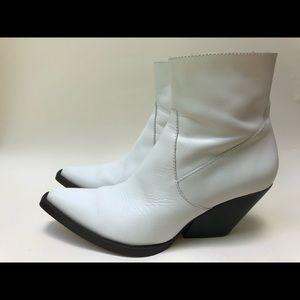 Zara White Moto Cowboy Boots